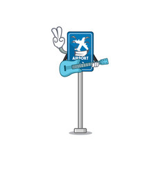 With guitar airport sign in character shape vector