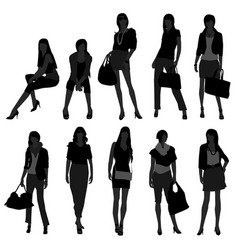woman female girl fashion shopping model a set of vector image