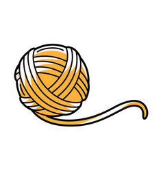 Yellow ball wool cartoon icon vector