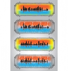 city skyline and silhouettes 2 vector image