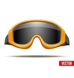 Classic orange snowboard ski goggles with black vector