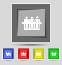 Conference icon sign on original five colored vector