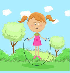 Cute little girl skipping rope in park vector