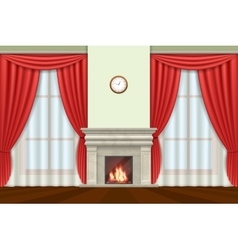 Living room interior with curtains and fireplace vector