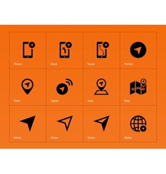 Navigator icons on orange background vector image vector image