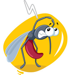 Scared mosquito insect cartoon vector