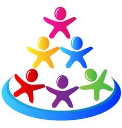 Teamwork pyramid people logo vector image vector image