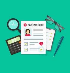 Patient card flat cartoon vector
