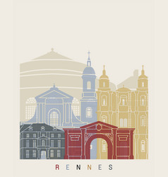 rennes skyline poster vector image vector image