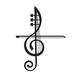 violin and treble clef vector image vector image