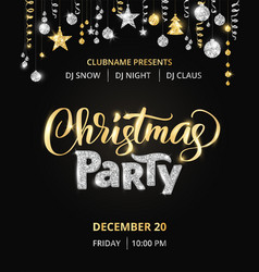 Christmas party poster template gold and silver vector
