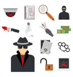 crime icons protection law justice sign security vector image vector image
