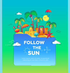 Flat design postcard with seaside vector