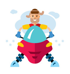 Man on snowmobile flat style colorful vector