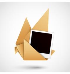 polaroid origami dove vector image vector image