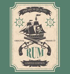 rum vintage label at pirate theme vector image