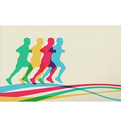 Running people silhouette concept background vector image vector image