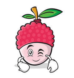 wink face lychee cartoon character style vector image vector image
