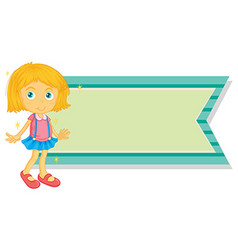 Banner template with little girl vector image vector image