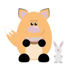 fox and rabbit happy vector image