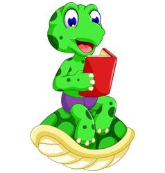 Funny turtle cartoon reading book vector
