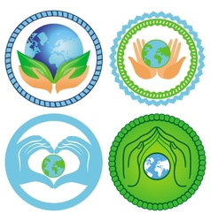 Set of ecology emblems vector image vector image
