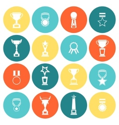 Trophy icons set flat vector image vector image