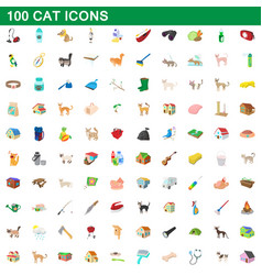 100 cat icons set cartoon style vector