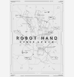 abstract futuristic poster with robot hand vector image