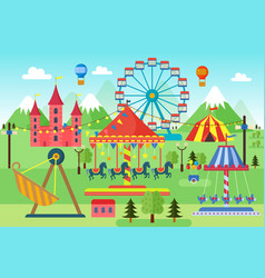 Amusement park with carousels roller coaster and vector