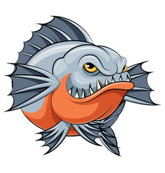 Angry piranha fish mascot vector