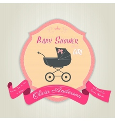 Baby shower invitation with flat carriage vector