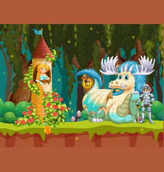 beautiful princess in forest castle scene vector image