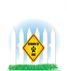 Beware of dog yellow sign vector