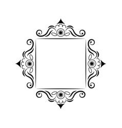 Black contour square frame vintage vector