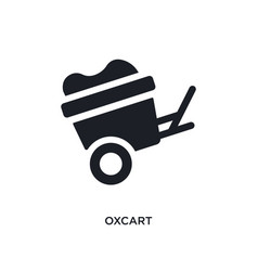 Black oxcart isolated icon simple element from vector