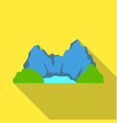 blue mountain under which flows the river vector image