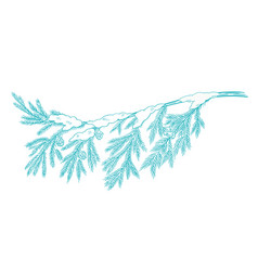 Branch christmas tree with snow conifer spruce vector