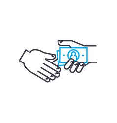 bribe taking thin line stroke icon bribe vector image