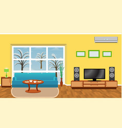 bright living room interior with modern furniture vector image