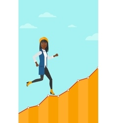 Business woman walking upstairs vector