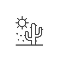 Cactus in desert line outline icon vector