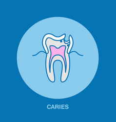 Caries treatment dentist line icon dental care vector