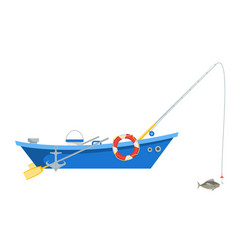 Cartoon fishing boat isolated on white background vector