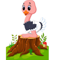 Cartoon happy ostrich sitting on tree stump vector