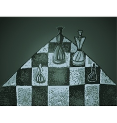 Chess pieces on a chessboard vector image