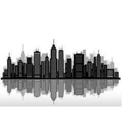 Cityscape silhouette with skyscrapers vector
