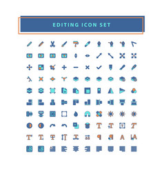 collection editing tool software icons set vector image