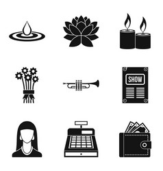 Cozy time icons set simple style vector