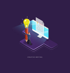 Creative writing flat isometric concept vector